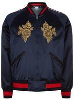 Gucci Flower Appliqué Satin Bomber Jacket