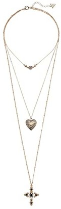 GUESS 3 Row Dainty Pendant Necklace