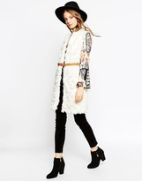 Asos Vest in Curly Faux Fur with Belt
