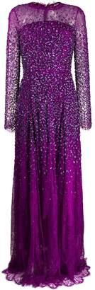 Escada sequin embroidered sheer evening dress