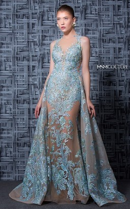 MNM Couture Nude Blue Sleeveless Halter Neck Evening Gown