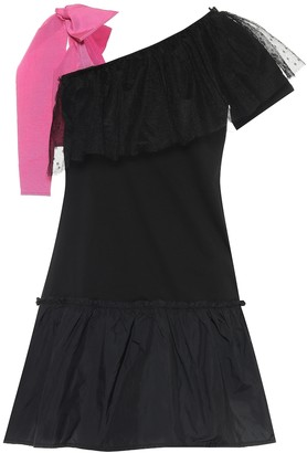 RED Valentino Tulle-trimmed off-shoulder cotton minidress