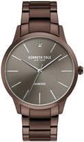 Kenneth Cole New York Men's Diamond-Accent Dark Brown Stainless Steel Bracelet Watch 43mm
