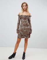 Bardot Nobody's Child leopard print tea dress with ruched neck
