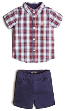GUESS Boys Short Sleeve Plaid Shirt & Twill Short Set