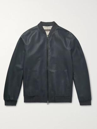 Loro Piana Ivy Rain System Leather Bomber Jacket - Men - Blue