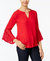 Amy Byer Juniors' Embellished Bell-Sleeve Top