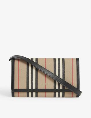 Burberry Hannah stripe E-canvas wallet-on-chain