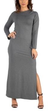 24seven Comfort Apparel Women's Long Sleeve Side Slit Fitted Maxi Dress