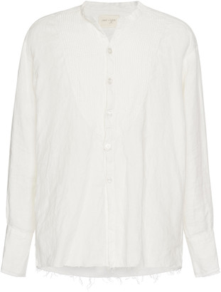 Greg Lauren Collarless Linen Button-Up Shirt