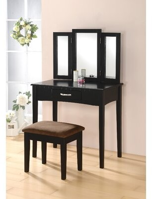 Charlton Home Kaitlin Solid Wood Vanity Set with Mirror Color: Black