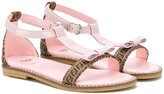 Fendi bow detail sandals - kids - Calf Leather/Leather/rubber - 20