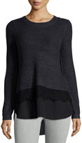 Neiman Marcus Crew-Neck Mixed-Media Pullover Sweater, Charcoal