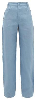 ALBUS LUMEN Lumen High-rise Linen Straight-leg Trousers - Blue