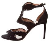 Alaia Suede Ankle-Strap Sandals