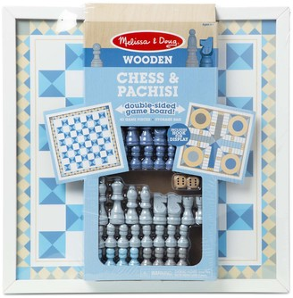 Melissa & Doug Double-Sided Wooden Chess & Pachisi Board Game