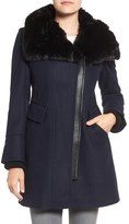 Via Spiga Women's Faux Fur Trim Asymmetrical Wool Blend Coat