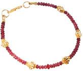 Lori Kaplan Jewelry - Faceted Pink Tourmaline Rondels With Vermeil Fleur De Lis Bracelet
