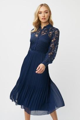 Little Mistress Aliza Navy Lace Midi Shirt Dress
