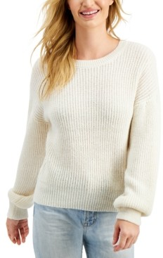 Freshman Juniors' Crew-Neck Balloon-Sleeve Sweater