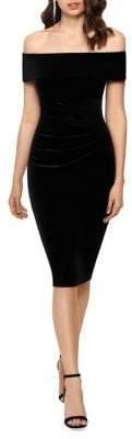 Xscape Evenings Off-The-Shoulder Velvet Bodycon Dress