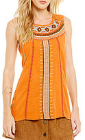 Blu Pepper Embroidered Tribal Tank