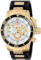 Invicta Men's 0478 Corduba Collection Chronograph Black Polyurethane and 18k Gold-Plated Watch