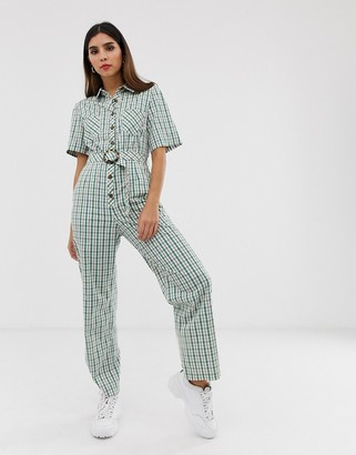 The East Order gaia check jumpsuit with button down and belt