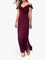 Oasis Ruffle Satin Maxi Dress, Burgundy