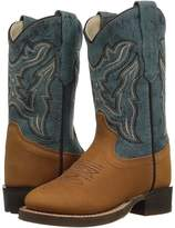 Old West Kids Boots Broad Round Toe Cowboy Boots