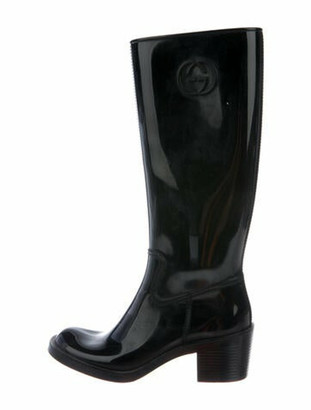 Gucci Interlocking G Logo Rubber Rain Boots Black