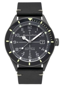 Spinnaker Men's Cahill Automatic Black Genuine Leather Strap Watch 43mm
