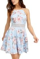 City Studios Juniors' Floral-Print Lace Fit & Flare Dress