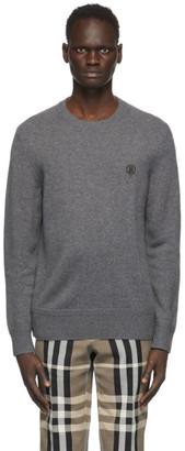 Burberry Grey Cashmere Monogram Motif Sweater
