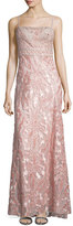 Sue Wong Embellished-Bodice Column Gown, Rose