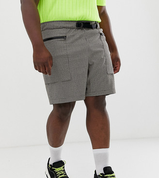 Asos DESIGN Plus utility shorts in micro check with belt