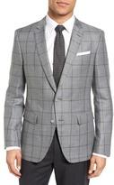 HUGO BOSS Hutsons Trim Fit Windowpane Linen & Wool Sport Coat