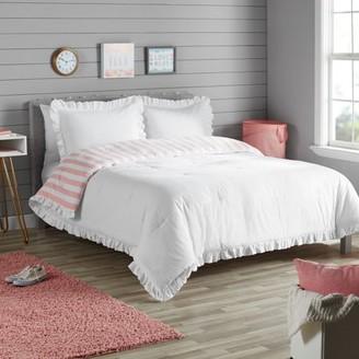 Better Homes & Gardens Kids White and Pink Stripe Reversible Ruffle Border Duvet Cover Set