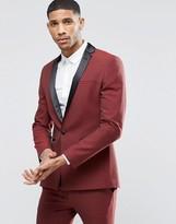 Asos Super Skinny Tuxedo Suit Jacket In Dark Red