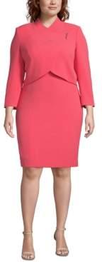 Tahari ASL Plus Size Wrap-Jacket Dress Suit