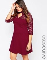 Asos Skater Dress with Mixed Lace