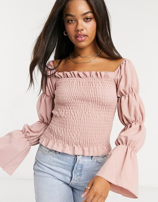 New Look shirred sleeve top in mauve