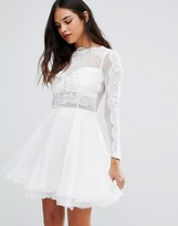 AX Paris Lace Detail Pleated Skater Dress