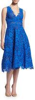 Monique Lhuillier Sleeveless Fit-&-Flare Lace Dress, Cobalt