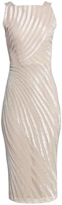 Rachel Gilbert Embellished Striped Cocktail Dress