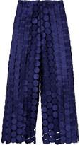 SOLACE London Hallie Embroidered Cutout Faille Wide-Leg Pants