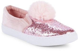 Capelli New York Girl's Sequined Faux Fur Slip-On Sneakers