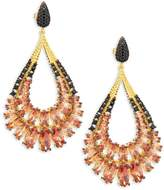 Azaara Women's Pink and Black Crystal and Sterling Silver Drop Earrings