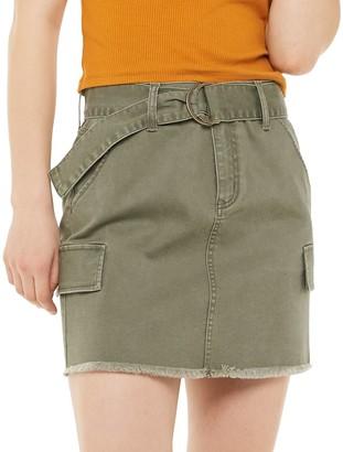 So Juniors' D-Ring Belted Twill Skirt