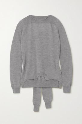 MM6 MAISON MARGIELA Tie-detailed Melange Wool Sweater - Gray